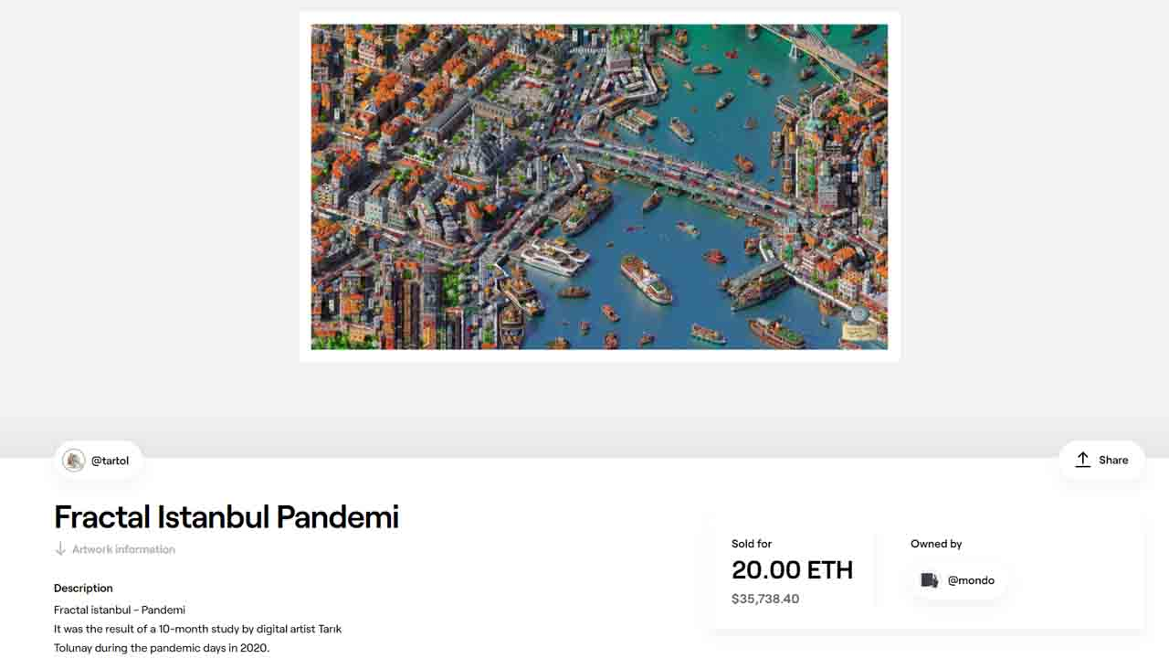 36 bin dolara satılan Fractal İstanbul-Pandemi